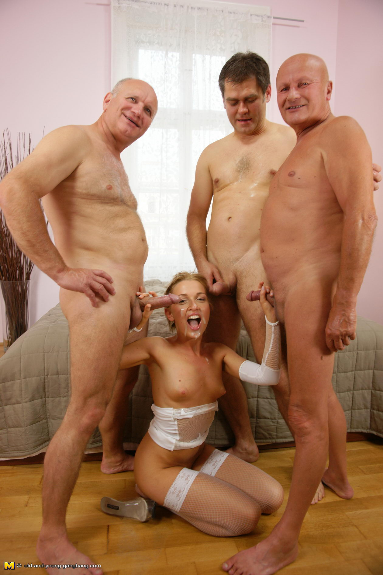 Opposite. Young naked hirls with old men join