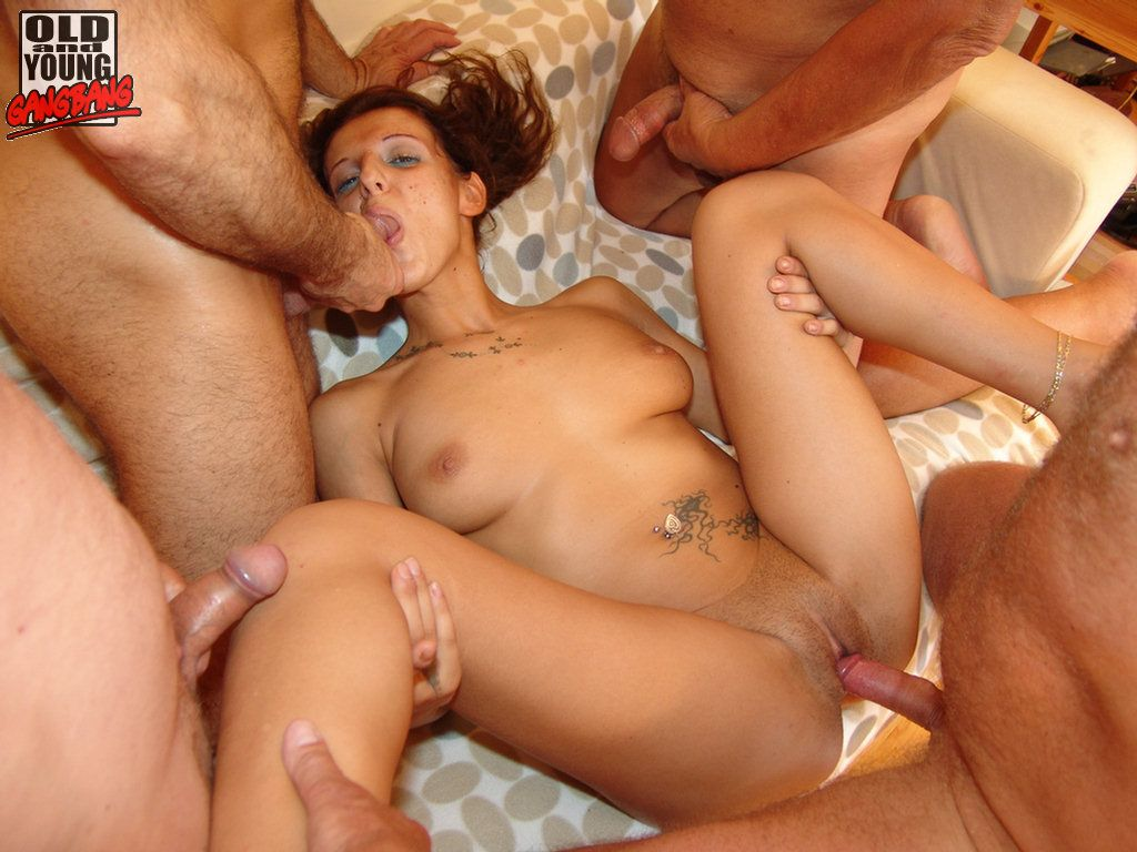 Old and young gangbang