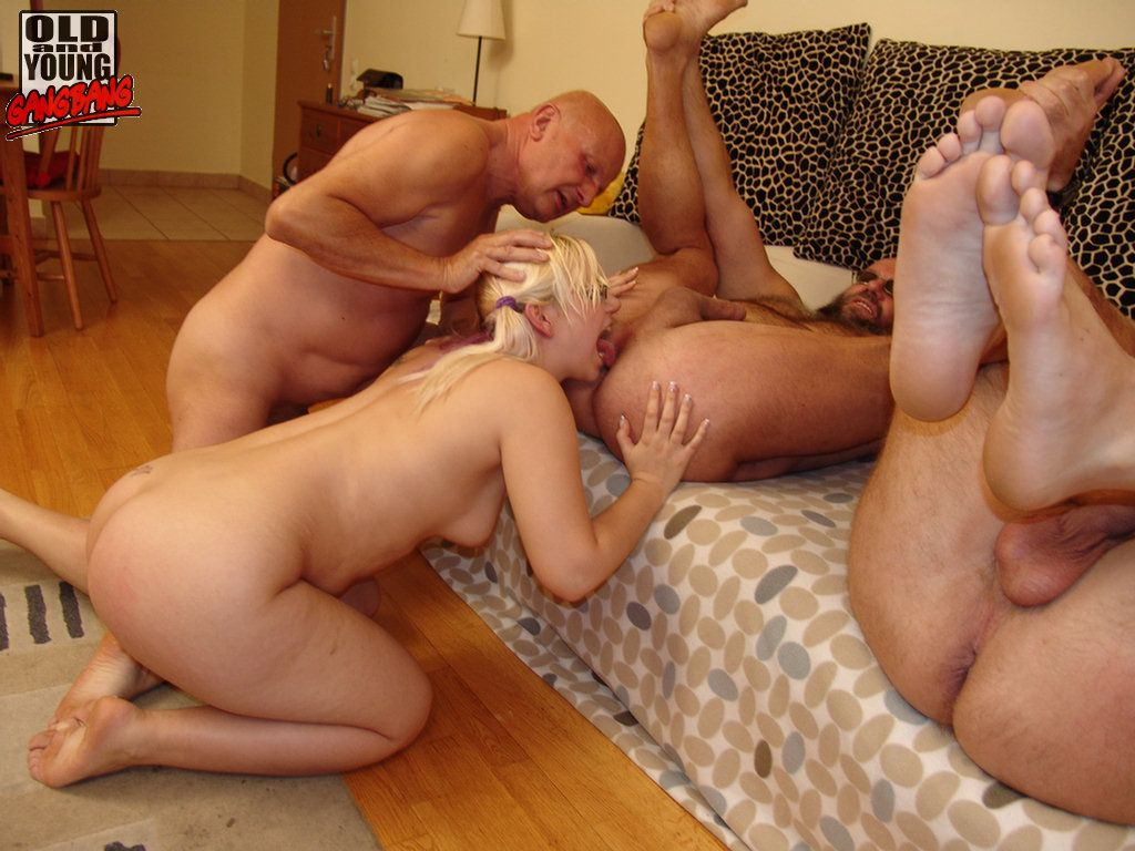 Blonde girl fucking with three guys
