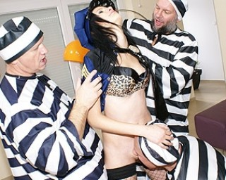 Teeny guard fucked by the dirty old inmates